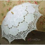 White Battenburg Lace Parasol