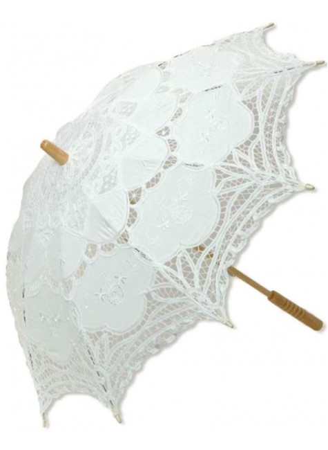 White Battenburg Lace Parasol at Gothic Plus, Gothic Clothing, Jewelry, Goth Shoes & Boots & Home Decor