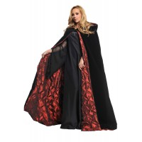 Black Velvet Deluxe Cape with Red Lining