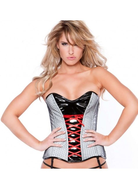 Clarissa Black and Gray Vinyl Corset at Gothic Plus, Gothic Clothing, Jewelry, Goth Shoes & Boots & Home Decor