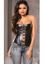 Buckled Front Faux Leather Corset at Gothic Plus, Gothic Clothing, Jewelry, Goth Shoes & Boots & Home Decor