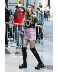 Bella Thorne in Emily 375 Lace Up Flat Thigh High Boots