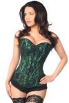 Lavish Green Lace Overlay Overbust Corset