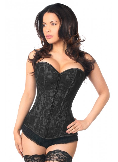 Lavish Black Lace Overlay Overbust Corset at Gothic Plus, Gothic Clothing, Jewelry, Goth Shoes & Boots & Home Decor