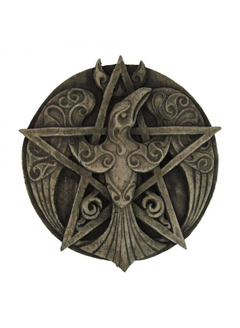 Crescent Raven Pentacle Plaque at Gothic Plus, Gothic Clothing, Jewelry, Goth Shoes & Boots & Home Decor