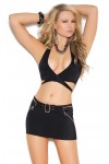 Black Mini Skirt with Zippers and Buckle