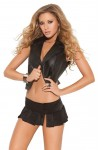 Black Pleated Micro Mini Skirt with Slits
