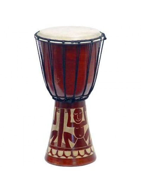 Djembe Drum Carved Red Mahogany Finish - Assorted Designs at Gothic Plus, Gothic Clothing, Jewelry, Goth Shoes & Boots & Home Decor