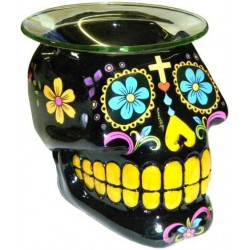 Black Sugar Skull Oil Burner Gothic Plus Gothic Clothing, Jewelry, Goth Shoes & Boots & Home Decor