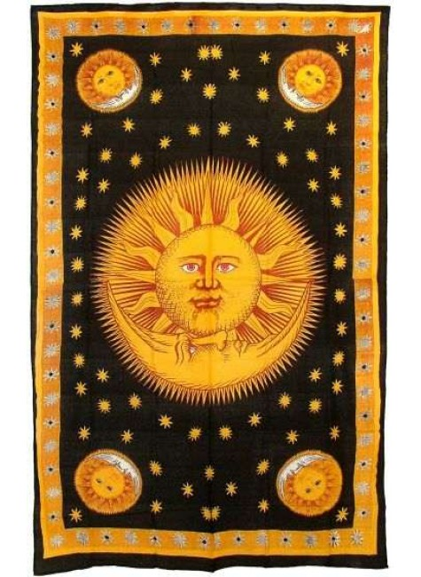 Solar Eclipse Gold Tapestry Bedspread at Gothic Plus, Gothic Clothing, Jewelry, Goth Shoes & Boots & Home Decor