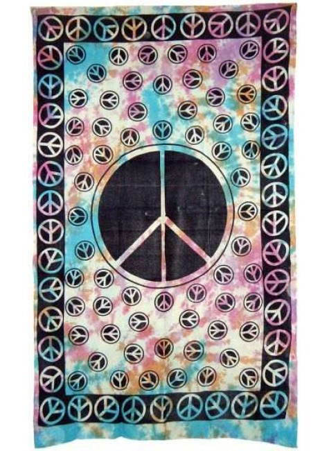 Peace Sign Tie Dye Cotton Full Size Tapestry at Gothic Plus, Gothic Clothing, Jewelry, Goth Shoes & Boots & Home Decor