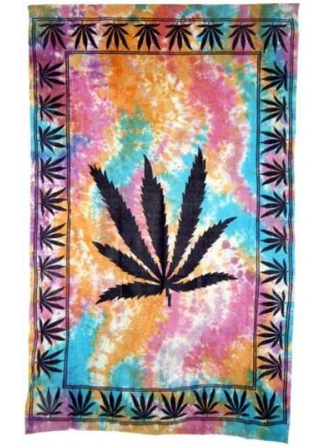 Hemp Leaf Tie Dye Cotton Full Size Tapestry at Gothic Plus, Gothic Clothing, Jewelry, Goth Shoes & Boots & Home Decor