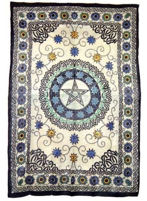 Floral Pentacle Cotton Full Size Tapestry at Gothic Plus, Gothic Clothing, Jewelry, Goth Shoes & Boots & Home Decor