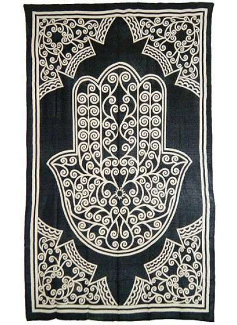 Hamsa Hand of Protection Cotton Full Size Bedspread at Gothic Plus, Gothic Clothing, Jewelry, Goth Shoes & Boots & Home Decor