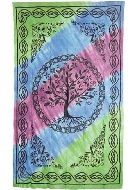 Tree of Life Tie Dye Cotton Full Size Bedspread at Gothic Plus, Gothic Clothing, Jewelry, Goth Shoes & Boots & Home Decor