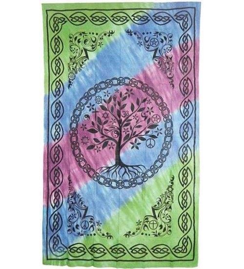 Tree of Life Tie Dye Cotton Full Size Bedspread at Gothic Plus,  Gothic Clothing, Jewelry, Goth Shoes, Boots & Home Decor