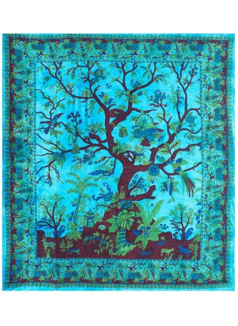 Tree of Life Blue Double Tapestry at Gothic Plus, Gothic Clothing, Jewelry, Goth Shoes & Boots & Home Decor