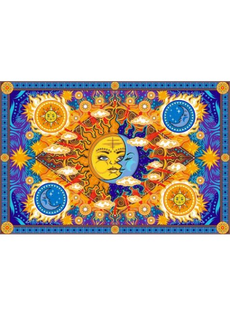 Firey Sun and Moon Cotton Bedspread at Gothic Plus, Gothic Clothing, Jewelry, Goth Shoes & Boots & Home Decor