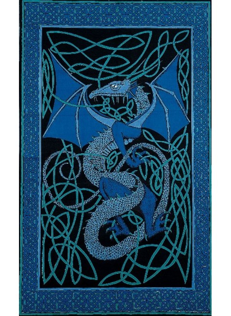 Celtic English Dragon Tapestry - Twin Size Blue at Gothic Plus, Gothic Clothing, Jewelry, Goth Shoes & Boots & Home Decor