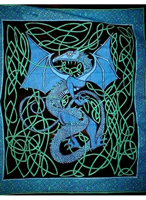 Celtic English Dragon Tapestry - Full Size Blue at Gothic Plus, Gothic Clothing, Jewelry, Goth Shoes & Boots & Home Decor