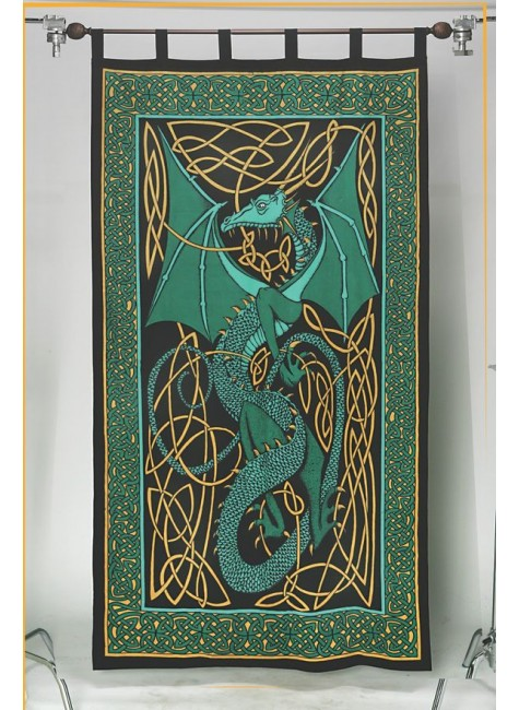 Celtic English Dragon Curtain - Green at Gothic Plus, Gothic Clothing, Jewelry, Goth Shoes & Boots & Home Decor