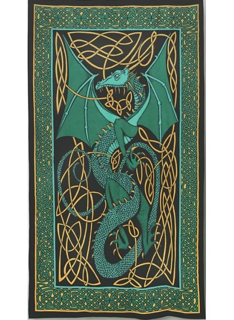 Celtic English Dragon Tapestry - Twin Size Green at Gothic Plus, Gothic Clothing, Jewelry, Goth Shoes & Boots & Home Decor