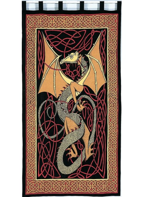 Celtic English Dragon Curtain - Red at Gothic Plus, Gothic Clothing, Jewelry, Goth Shoes & Boots & Home Decor