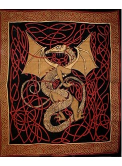 Celtic English Dragon Tapestry - Full Size Red Gothic Plus Gothic Clothing, Jewelry, Goth Shoes & Boots & Home Decor