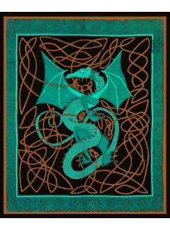 Celtic English Dragon Tapestry - Full Size Green Gothic Plus Gothic Clothing, Jewelry, Goth Shoes & Boots & Home Decor