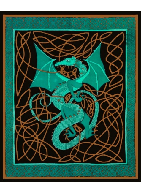 Celtic English Dragon Tapestry - Full Size Green at Gothic Plus, Gothic Clothing, Jewelry, Goth Shoes & Boots & Home Decor