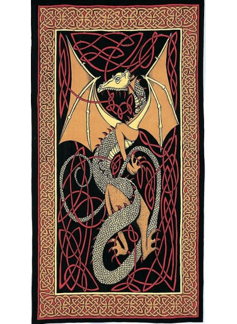 Celtic English Dragon Tapestry - Twin Size Red at Gothic Plus, Gothic Clothing, Jewelry, Goth Shoes & Boots & Home Decor