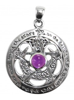 Moon Pentacle Sterling Silver Pendant with Amethyst Gothic Plus Gothic Clothing, Jewelry, Goth Shoes & Boots & Home Decor