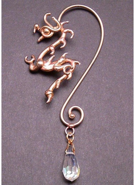 Bronze Dragon Ear Wrap with Crystal at Gothic Plus, Gothic Clothing, Jewelry, Goth Shoes & Boots & Home Decor