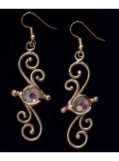 Bronze Swirl Crystal Earrings Gothic Plus Gothic Clothing, Jewelry, Goth Shoes & Boots & Home Decor