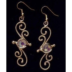 Bronze Swirl Crystal Earrings Gothic Plus  Gothic Clothing, Jewelry, Goth Shoes, Boots & Home Decor