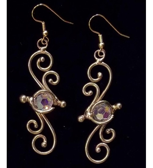 Bronze Swirl Crystal Earrings at Gothic Plus,  Gothic Clothing, Jewelry, Goth Shoes, Boots & Home Decor