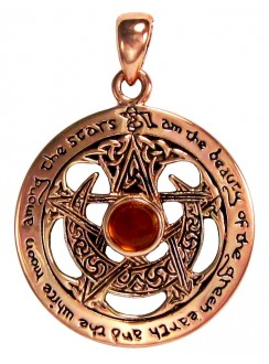 Moon Pentacle Copper Pendant with Amber Gothic Plus Gothic Clothing, Jewelry, Goth Shoes & Boots & Home Decor