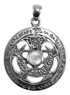 Moon Pentacle Sterling Silver Pendant with Moonstone Gothic Plus Gothic Clothing, Jewelry, Goth Shoes & Boots & Home Decor