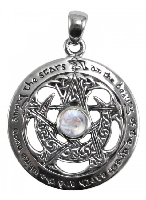 Moon Pentacle Sterling Silver Pendant with Moonstone at Gothic Plus, Gothic Clothing, Jewelry, Goth Shoes & Boots & Home Decor