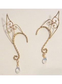 Elf Ear Bronze Ear Wrap with Crystal Gothic Plus Gothic Clothing, Jewelry, Goth Shoes & Boots & Home Decor