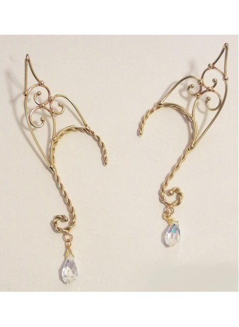 Elf Ear Bronze Ear Wrap with Crystal at Gothic Plus,  Gothic Clothing, Jewelry, Goth Shoes, Boots & Home Decor