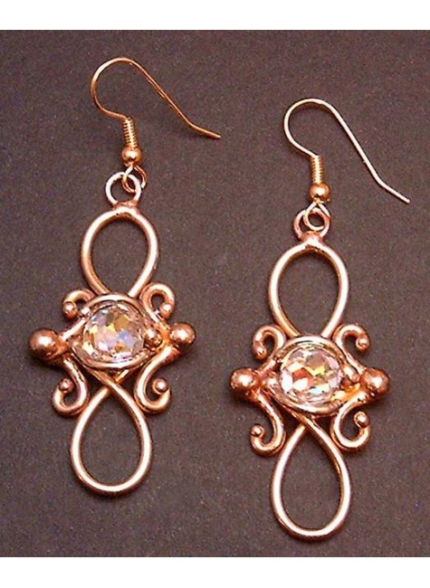 Bronze Figure 8 Crystal Earrings at Gothic Plus, Gothic Clothing, Jewelry, Goth Shoes & Boots & Home Decor