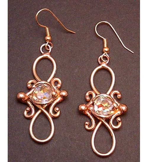 Bronze Figure 8 Crystal Earrings at Gothic Plus,  Gothic Clothing, Jewelry, Goth Shoes, Boots & Home Decor