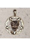 Baphomet Inverted Pentagram Bronze Necklace