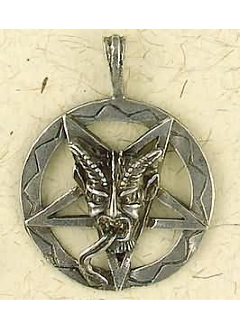 Baphomet Inverted Pentagram Pewter Necklace at Gothic Plus, Gothic Clothing, Jewelry, Goth Shoes & Boots & Home Decor