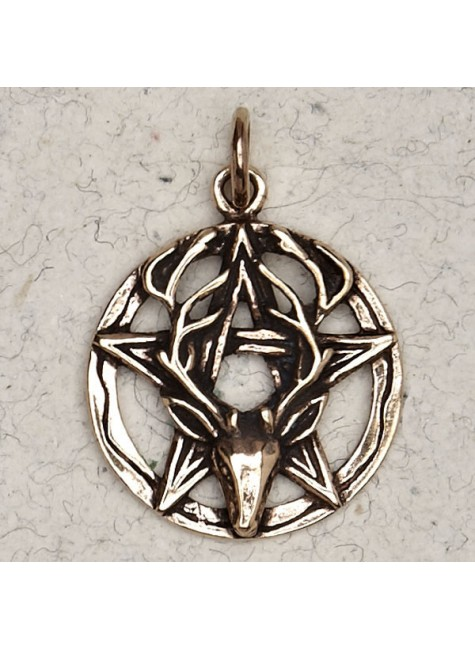 Stag Pentacle Bronze Necklace at Gothic Plus, Gothic Clothing, Jewelry, Goth Shoes & Boots & Home Decor