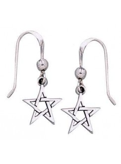 Pentacle Dangle Earrings in Sterling Silver Gothic Plus Gothic Clothing, Jewelry, Goth Shoes & Boots & Home Decor
