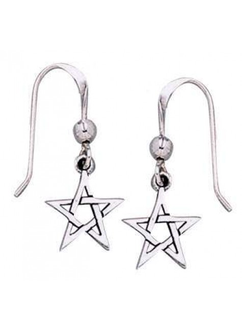 Pentacle Dangle Earrings in Sterling Silver at Gothic Plus, Gothic Clothing, Jewelry, Goth Shoes & Boots & Home Decor