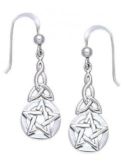 Triquetra Pentacle Earrings in Sterling Silver Gothic Plus Gothic Clothing, Jewelry, Goth Shoes & Boots & Home Decor