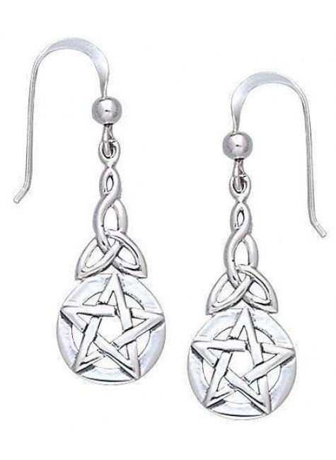 Triquetra Pentacle Earrings in Sterling Silver at Gothic Plus, Gothic Clothing, Jewelry, Goth Shoes & Boots & Home Decor